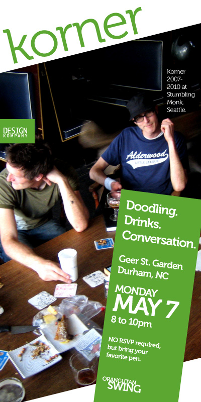 #Korner drink-and-draw! Tonight 8pm at @geerstgarden