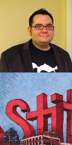 """""""Stitch Takes Durham"""" a drawing by Tim Swezy"""
